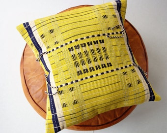 Li-Ngai - Handmade Yellow Cushion inspired from Naga tribal designs 40cm x 40cm (cover only)