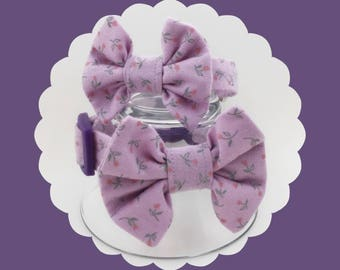 Lavender Floral & Bow Dog or Puppy Collar