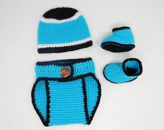 Crochet Baby Carolina Panthers Diaper Cover Set/Hat/Shoes/Baby Football/Newborn/Baby  Girl/Baby boy/Newborn Photo prop/Baby Shower Gift