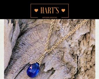 Tiny Blue Kyanite Gemstone Teardrop 14K Gold Necklace