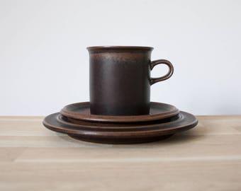 Arabia Finland - Ruska - Coffee Trio - Cup, Saucer and Plate - Ulla Procopé - 1960s - Scandinavian Midcentury