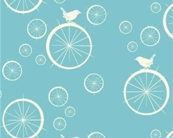 Cute Bird and Bicycle Fabric   Birch Organic   Baby Blue Material   Birdie Spokes Pool   Little Birds   Circle   Animals