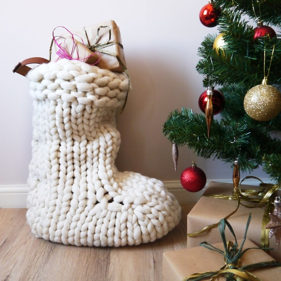 Chunky Knit White Christmas Stocking Traditional hand knit