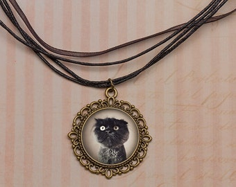 Vintage Black CAT Pendant, Grumphy Cat Portrait, Vintage Cat Jewelry, Gothic Cat Necklace, Cat Lover Gift Jewelry, Special Cat Jewelry