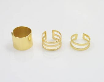 "Set of 3 gold plated rings ""Knuckle"""