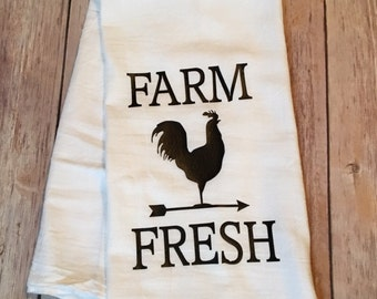 Farm Fresh kitchen Tea Towel // Flour Sack // Hostess Gift // Housewarming gift