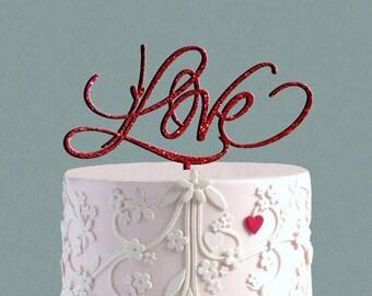 LOVE  Cake Topper Wedding Cake Topper,  Love sign Love Topper  Wedding Cake Decor, Heart Topper Valentine  Be mine Day Cake Topper
