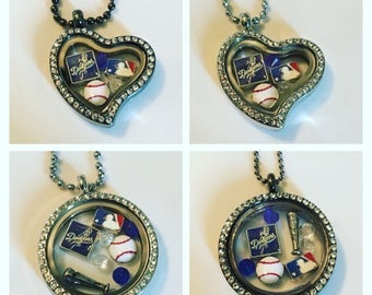 LA Dodgers floating charm locket necklace! Free shipping in the US!