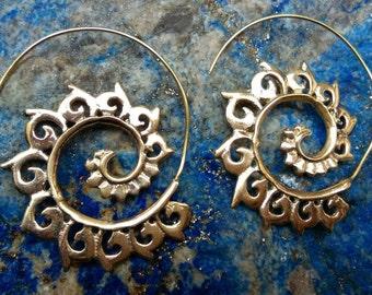 Tribal Brass Earrings. Spiral Hoop Earrings. Brass Tribal Earrings. Boho Earrings. Gypsy Hoop Earrings. Ethnic Earrings. Handmade Jewelry.