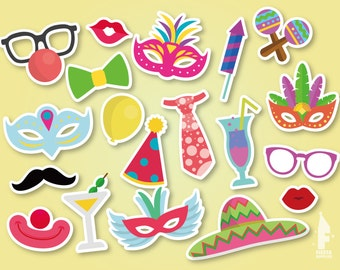 Printable Carnival masks, Party Photo Booth masks, Printable party Props, Instant Download birthday props, Mardi Gras Props,Instant Download
