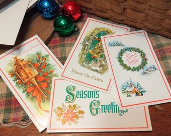 Vintage Christmas Cards  Set of 4 with Envelopes