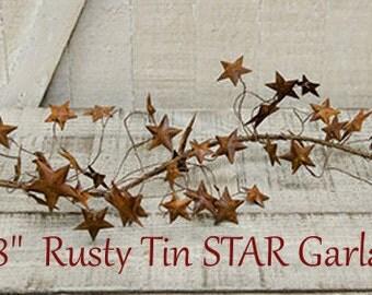 "58"" Dimensional Rusty Tin STAR Garland, primitive crafts, Rustic Wedding"