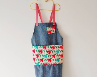 Kids Apron, Pink Apple Denim, funky, modern toddler apron, retro, kids smock, modern design