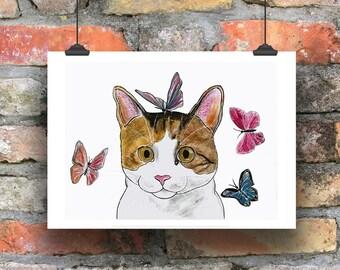 cat portrait cat psychedelic art print animal watercolor cat painting cute cat original watercolor print animal painting kitty,pet portrait