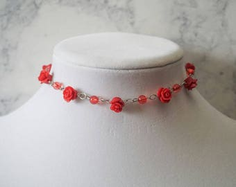 Beaded Red Rose Choker Necklace