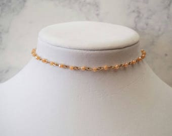 Peach Beaded Choker Necklace