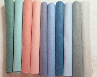 Set of 10 sheets Wool blend felt sheets, Boho Feather colored collection, choose 9 x 12 inch sheets or 12 x 18 inch sheets
