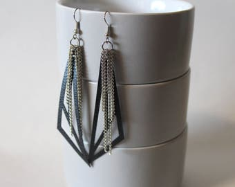 Faux Leather & Chain Drop Earrings, Dangle, Lightweight, Soft Black, Leather and Chain Earrings, Geometric Earrings, Edgy, RTS, Gift for Her