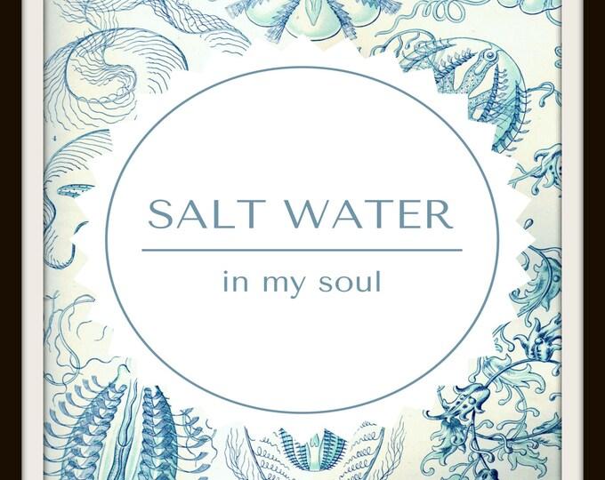 Instant Download, Ernst Haeckel, Inspiration, Printable Wall Art, Antique, Illustration, Water, Ocean, Sea, Vintage, Beach Cottage, JPEG