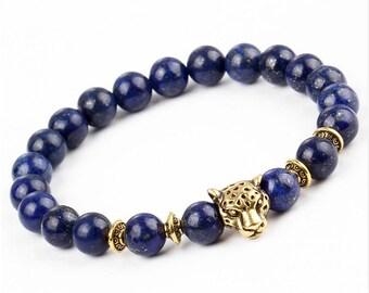 Leopard Bead Bracelet / Tiger Eye Stone Blue