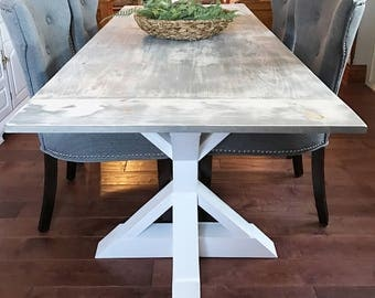 Elegant Rustic Farm Table, Farm Table, Gray Farm Table, Trestle Table, Pedestal  Table