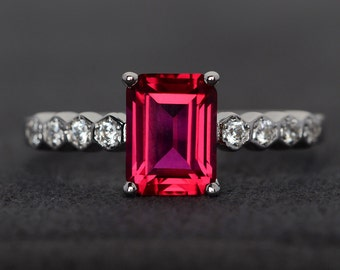 ruby ring  silver red ruby gemstone ring engagement ring emerald cut July birthstone ring promise ring