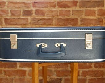 Royal Blue Paper Lined 1960s Suitcase