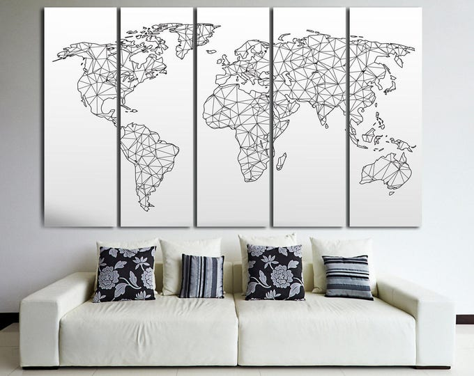 Large abstract geometric map of the world, black and white world map on canvas wall art, huge abstract map wall art Home & Office Decoration