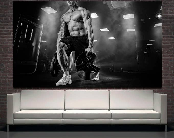 Black and white gym decor motivational wall art fitness studio wall art canvas print, fitness motivational canvas print set of 3 or 5 panels
