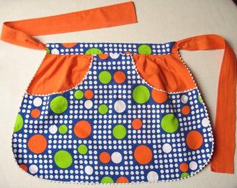 Kitchen apron 70's / Demi-tablier to orange and Apple green peas / retro kitchen / kitchen pop / apron vintage 70's / linens