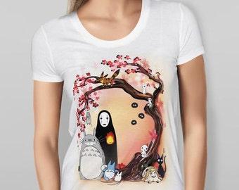 Studio Ghibli Characters Cherry Blossom Tree Valanetine's gift girlfriend - WHITE T-SHIRT