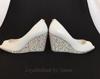 Custom Strassed Swarovski Crystal Shoes Wedges - Bridal Bridesmaid Wedding  - Bespoke service - send us your shoes