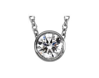 "Platinum 1/3 CTW Bezel Set Diamond 18"" Necklace, Genuine Diamond .33 G-H SI1"