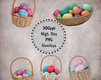 Easter Basket Overlays, Separate png files with Transparent Backing, High Resolution, Instant Download.