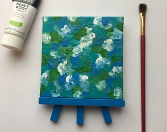 Original Art, Miniature Art, Mini Painting, Abstract Painting, Abstract Art, Blue & Green Art, Original Painting