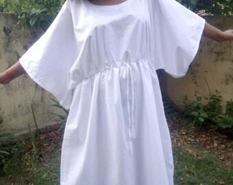 White Kaftan, Meditation caftan, Oversized Dress, Butterfly Dress, Beach kaftan, Beach cover up, long cotton robe, Meditation Robe