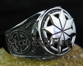 SLAVIC Ring ALATYR STAR for men _with Kolovrat Symbol _ Slavic Sun _Pagan's Amulet _Handcrafted jewelry