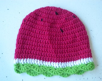 Crochet beanie in watermelon style for 12 months old