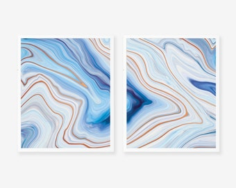 Abstract Blue Agate Marble 2 Panel Pair Art Print - Instant Digital Download