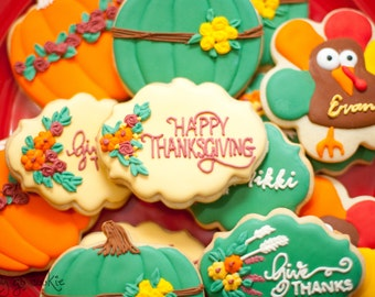 Personalized Thanksgiving Sugar Cookies  (one dozen) // thanksgiving place cards