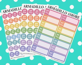 Bill Due Reminders, Choose Icons or Boxes {14+ Fancy Matte or Glossy Planner Stickers, Double Rainbow} | #17-229