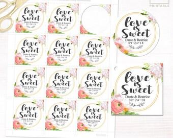 Love Is Sweet Favor Tags | DIGITAL DIY PRINTABLE | Personalized Wedding Favor Tags | Peony Flowers