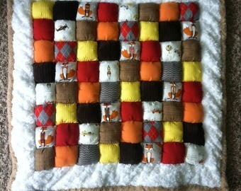 Foxes and Cars Puff Quilt