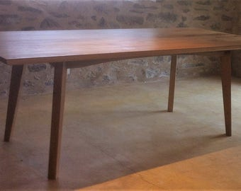 Mid Century Modern Classic Oak and Walnut Dining Table