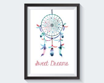 Sweet Dreams Print, Watercolor Dreamcatcher, Digital Print, Instant Download, Wall Art, Nursery Decor, Colorful Tribal Feathers - (D029)
