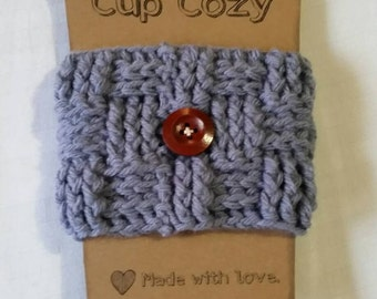 Hand crocheted coffee cup cozy... metal gray