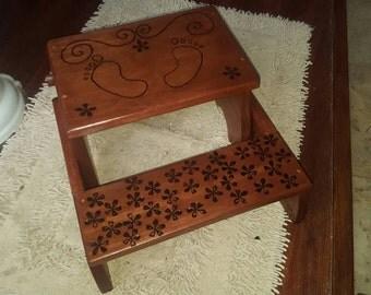 Custom designed child bathroom step stool/seat