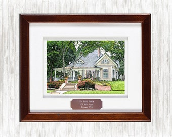 Framed Custom Digital House Sketch from your Photo