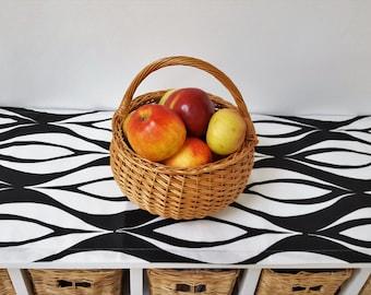 Art Deco Black and White Linen Cotton Table Runner.