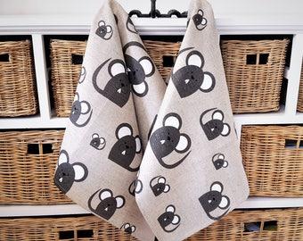 Handmade Linen Cotton Mice Tea Towels Kitchen Towels Dish Towels.